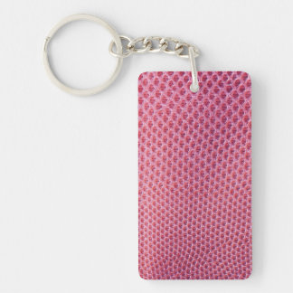 Pink snake, lizard or reptile skin (faux leather) Double-Sided rectangular acrylic key ring
