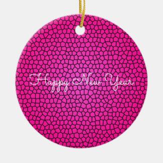 Pink Snake Print Design Ornament