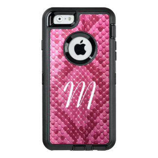 Pink Snake Skin Monogrammed OtterBox iPhone Case