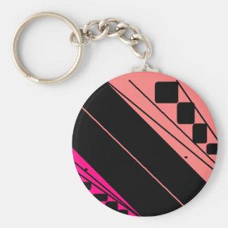 Pink Snap Basic Round Button Key Ring