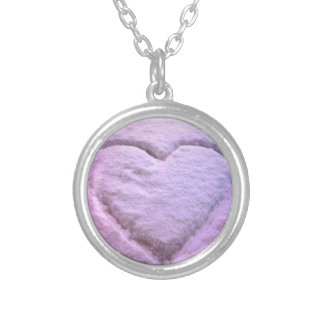 Pink Snow Heart Necklace. Round Pendant Necklace