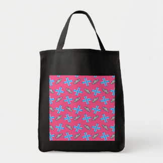 pink snowboard pattern grocery tote bag