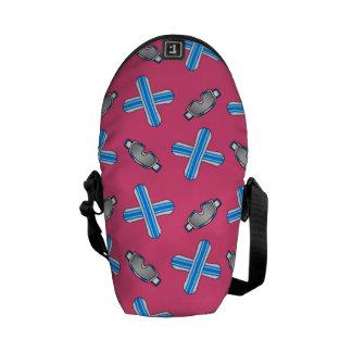 pink snowboard pattern messenger bags