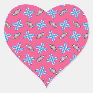 pink snowboard pattern heart sticker