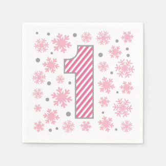 Pink Snowflake 1st Birthday Disposable Serviettes