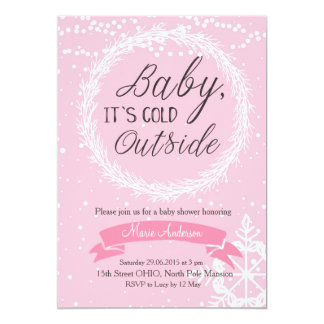 Pink Snowflake Baby It's Cold Outside Invitation