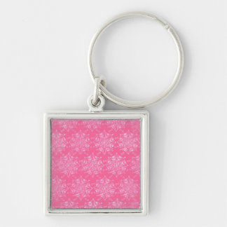 Pink Snowflake Girly Blush Winter Snow Pattern Key Chain