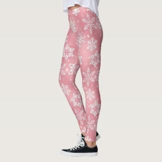 Pink snowflake pattern Christmas leggings