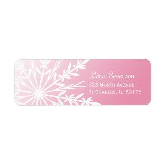 Pink Snowflake Return Address Label