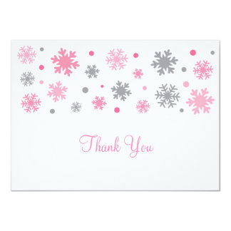 Pink Snowflake Thank You Cards 11 Cm X 16 Cm Invitation Card