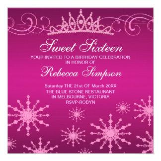 Pink Snowflake Tiara Design Birthday Invitation