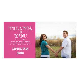 Pink Snowflake Wedding Photo Thank You Cards