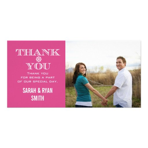 Pink Snowflake Wedding Photo Thank You Cards Personalized Photo Card