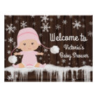 Pink Snowflake Winter Baby Shower Sign