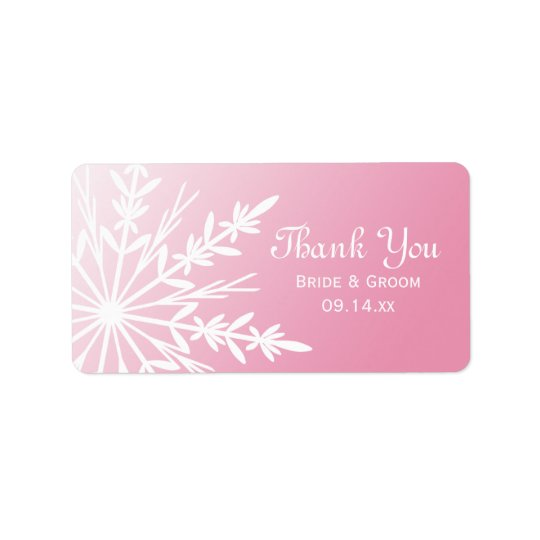 Pink Snowflake Winter Wedding Thank You Favour Tag Address Label