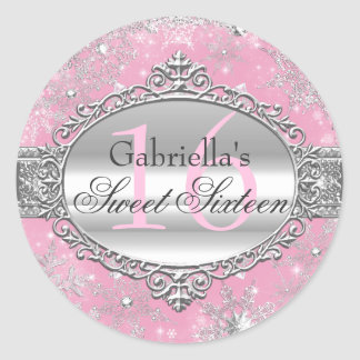 Pink Snowflake Winter Wonderland Sweet 16 Sticker