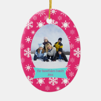 Pink snowflakes Christmas holiday photo ornament