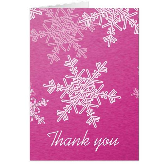Pink Snowflakes Christmas Thank You Card