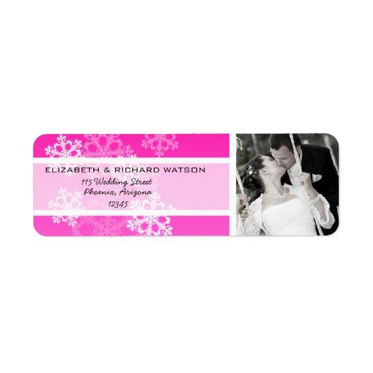 Pink Snowflakes Christmas Wedding Label