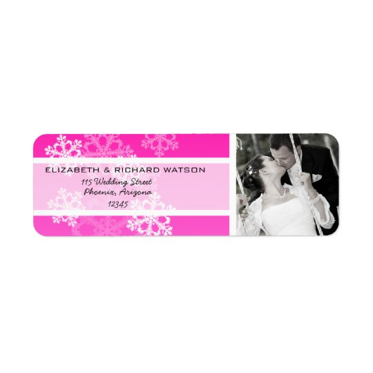Pink Snowflakes Christmas Wedding Label Return Address Label