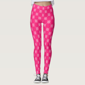Pink Snowflakes Diagonal Square Pattern Leggings