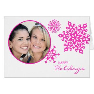 Pink Snowflakes Folded Photo Christmas Greeting Card