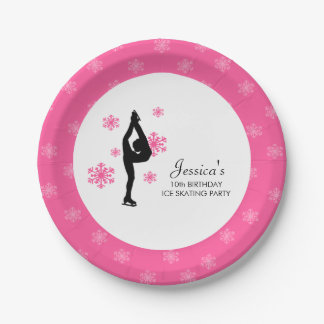 Pink Snowflakes Ice Skating Birthday Party Paper Plate