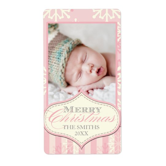 PINK SNOWFLAKES MERRY CHRISTMAS PHOTO LABEL SHIPPING LABEL