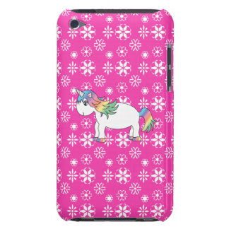 Pink snowflakes rainbow unicorn barely there iPod case