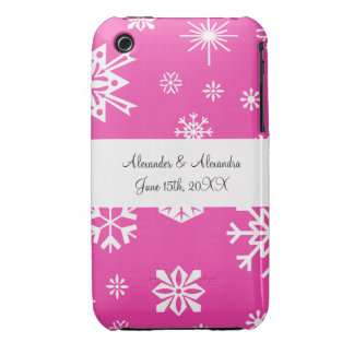 Pink snowflakes wedding favors iPhone 3 Case-Mate cases
