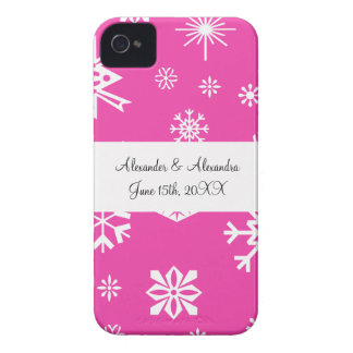 Pink snowflakes wedding favors Case-Mate iPhone 4 case
