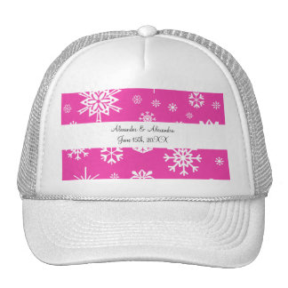 Pink snowflakes wedding favors trucker hat