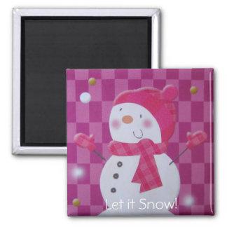 Pink Snowman Magnet