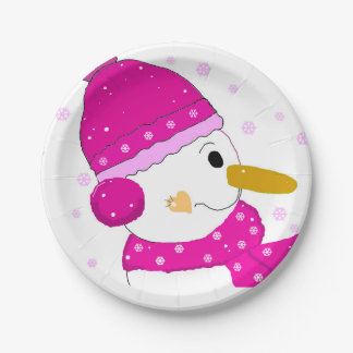 Pink Snowman Paper Plate