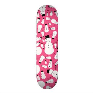 Pink snowmen skate board deck