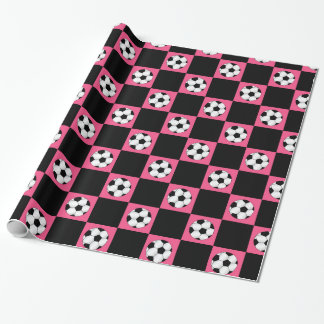 Pink soccer ball checkers wrapping paper