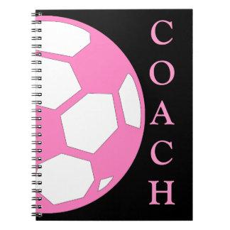 Pink Soccer Ball Coach Spiral Notebook