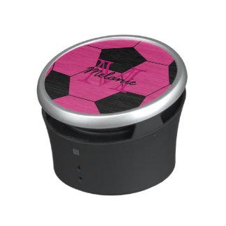 Pink Soccer Ball Custom Monogram Speaker