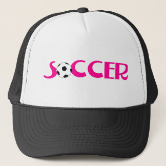 Pink soccer ball design trucker hat