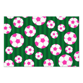 Pink soccer ball green stripes photographic print