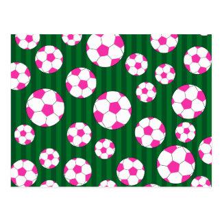 Pink soccer ball green stripes postcard