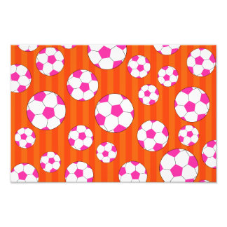 Pink soccer ball orange stripes photographic print