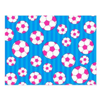 Pink soccer ball sky blue stripes postcard