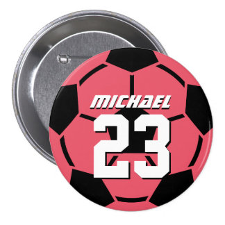 Pink Soccer Ball Sports Team Button Pin