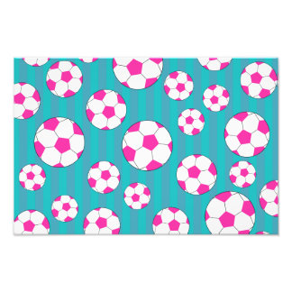 Pink soccer ball turquoise stripes photograph