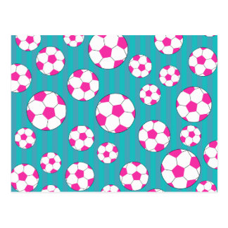Pink soccer ball turquoise stripes postcard
