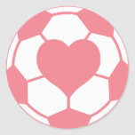 Pink Soccer Ball with Heart Round Stickers