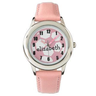 Pink Soccer Ball Wrist Watch