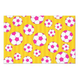 Pink soccer ball yellow stripes art photo