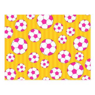 Pink soccer ball yellow stripes postcard